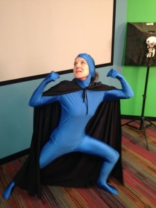 Jordan dressed for a superhero/villain element chemistry project!